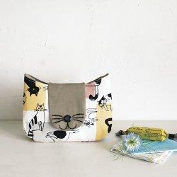 画像1: ネコのフラップポーチ(型紙/仕様書)